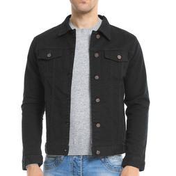 Vintage Mens Black Trucker Denim Jacket Regular Fit Unlined