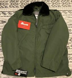 Vintage NEW Blauer Mens Green Bomber Jacket Sz 42L Fur Colla