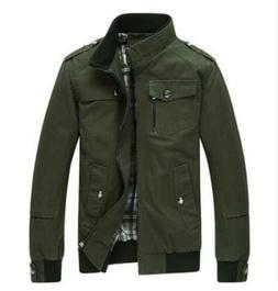 Wantdo Men's Cotton Stand Collar Windbreaker Jacket Lightwei