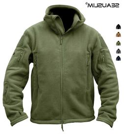 Windbreaker Mens Fleece Jackets Hooded Coat Outdoor Combat O