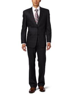 Tommy Hilfiger Men's Windowpane Trim Fit Suit With Flat Fron