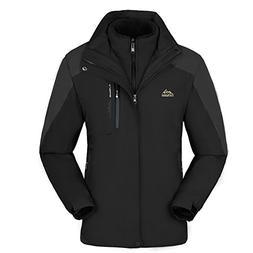 KAISIKE Men's Windproof Softshell Fleece Ski Jacket 3 in 1 O