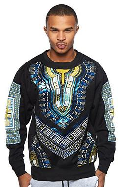 GENx Mens Winter Dashiki Metallic Print Crewneck Sweater Top