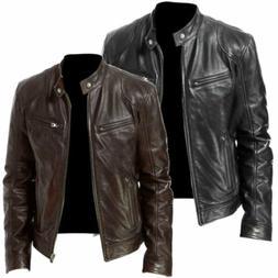 Winter Men's Leather Jacket BLACK & BROWN Slim fit Biker Jac
