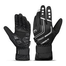 Men's Winter Thermal Full Finger Gloves Gel Padded Reflectiv