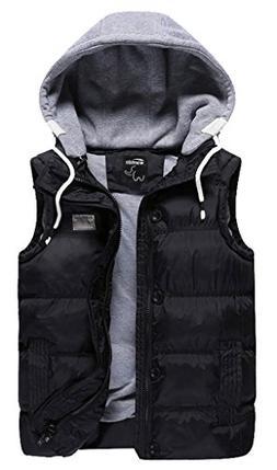 Wantdo Men Winter Thicken Cotton Stand Collar Outwear Vest W