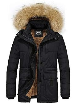 JYG Men's Winter Warm Fleece Lined Coat with Removable Hood,