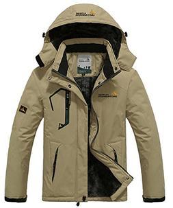 JINSHI Men's Winter Outdoor Waterproof Raincoat Windproof Fl