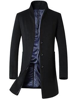 Mordenmiss Men's Winter Woolen Long Trench Coat Business Out
