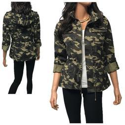 Women's Utility Anorak Military Camo Hooded Jacket