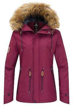 Wantdo Women's Waterproof Ski Jacket Fleece Lined Mountain P