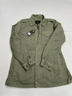 Womens LUCKY BRAND Green Zip Up Utility Military Style Jacke