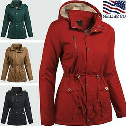 Womens Hooded Sherpa Lined Jacket Fur Coat Military Utility
