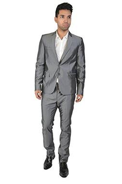 Just Cavalli Men's Wool Silver Two Button Suit US 38 IT 48