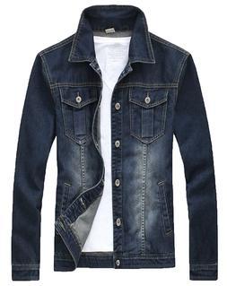 XueYin Men's Denim Jacket Slim Fit