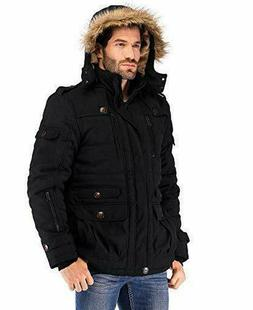 Yozai Mens Winter Military Warm Jacket Fleece Coat with Deta