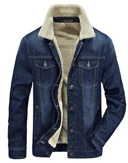 Zicac Men's Fleeced Denim Jacket Winter Fall Warm Cowboy Coa