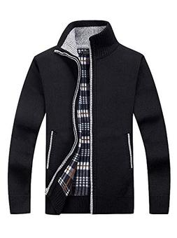 GEEK LIGHTING Men's Full Zip Knitted Cardigan Sweaters Slim