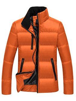 Men Zipper Closure Long Sleeves Slim Cut Warmer Down Coat Or