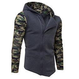 haoricu Mens' Full Zipper Hoodie Winter Camouflage Hooded Sw