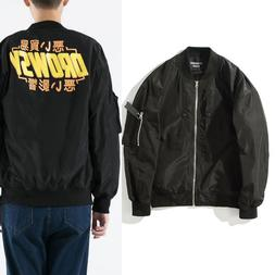 Zipper Letter Graphic Print Stand Collar Bomber <font><b>Jac